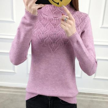 2018 Autumn winter Fashion Women sweater high elastic Solid Turtleneck sweater women slim sexy tight Bottoming Knitted Pullovers