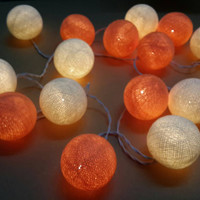 Peach fruit color & white warm summer string light cotton ball party wedding bedroom living room light decor