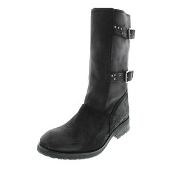 Diesel Womens Roxy Roll Siouxy Suede Mid-Calf Motorcycle Boots