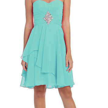 Short Chiffon Knee Length Bridesmaid Dress Mint Strapless