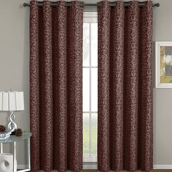 Brown 54x96 Fiorela Jacquard Grommet Top Curtain Panel (each)
