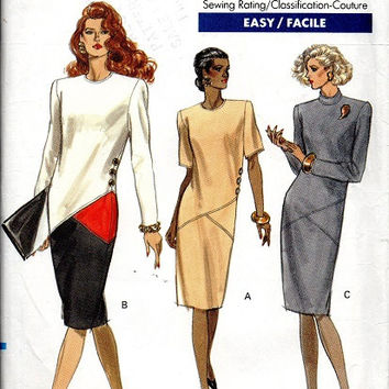 Vogue 80s Sewing Pattern 7629 Color Block Asymmetrical New Wave Style Casual Business Dress Drop Waist Bust 32