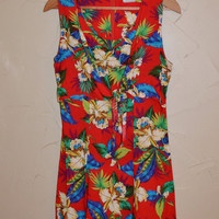 Vintage 80s Dress Tropical Print Dress Hawaii Festival Dress Summer Dress Size 13 Small