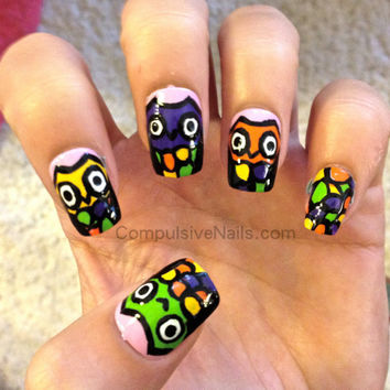 Neon Owl Fake Nails by CompulsiveNails on Etsy