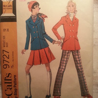 Uncut 1960's McCall's Sewing Pattern, 9727! Size 12 Bust 34 Medium/Women's/Misses/Collared jackets/Pleated Skirts/Bell bottom Pants/Wide Le
