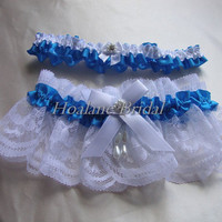 Lace garter, Wedding garter set, Blue bridal garter set