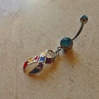 Autism Awarness Ribbon Puzzle Belly Ring Navel Ring 14ga Body Jewelry