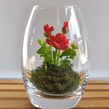 Tiny Red Rose Woodland Terrarium by Miss Moss Gifts