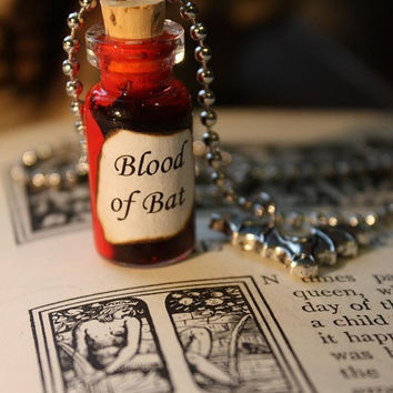 Glass Vial Necklace - Blood of Bat - Vampire - Halloween