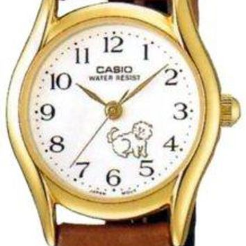 Casio Women's LTP1094Q-7B7 Brown Leather Quartz Watch with White Dial