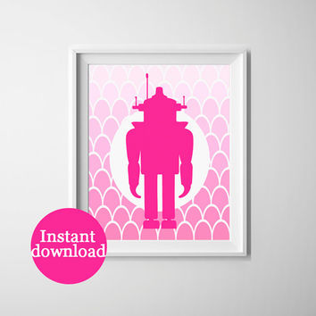 Printable art for the nursery, pink robot with pink ombre scalloped background. 8x10 inch instant download robot art.