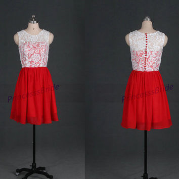 Short ivory lace red chiffon bridesmaid dresses,2014 discount prom gowns hot,cheap cute dress for wedding party under 100.