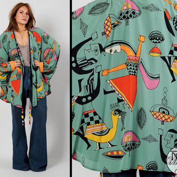 vintage 80s PICASSO Cocoon Batwing Jacket Kimono People Birds Fish beaded