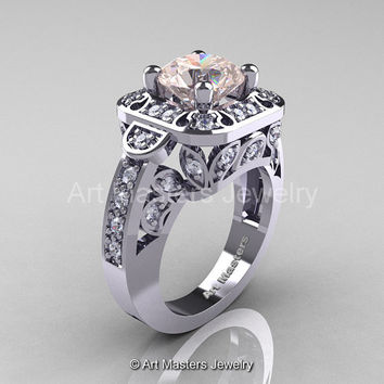 Art Masters Classic 14K White Gold 2.0 Ct Morganite Diamond Engagement Ring Wedding Ring R298-14KWGDMO