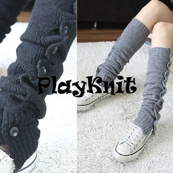PlayKnit Long Winter Leg Warmers, Blue Gray Coffe Knit Crochet Leg Warmer Socks, Boot Socks