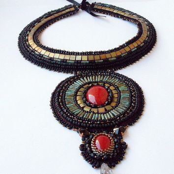 Bead Embroidery Necklace.Seed beaded necklace Unique handmade jewelry. OOAK