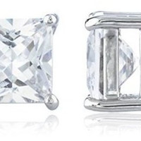 Silvertone Magnetic Earrings with Clear Cz Square - 4mm to 12mm