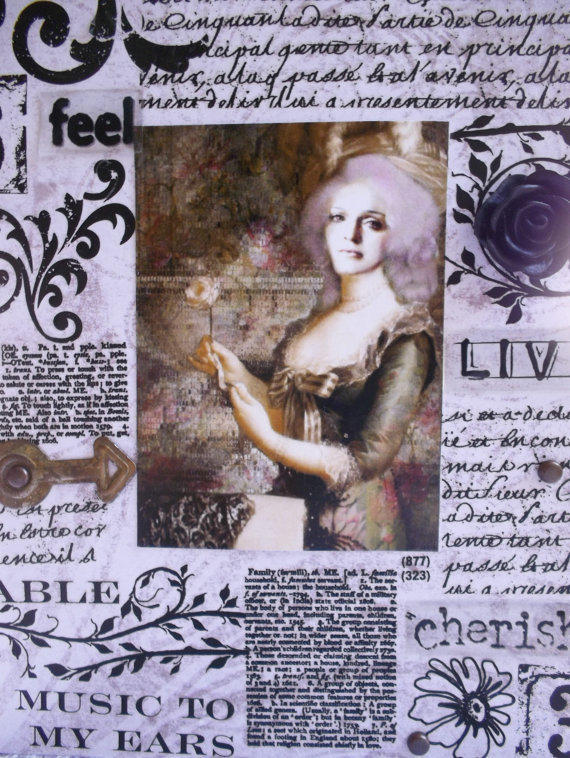 The Homage To Madonna - An Original Altered Embellished Handmade Collectable 5x7 Greeting Card