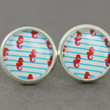 Fake Plugs : Red, Blue and White Nautical Stud Earrings, Beach, Seahorse, Stripped, Cabochon, Flat Back, ArtisanTree, Handmade in Canada