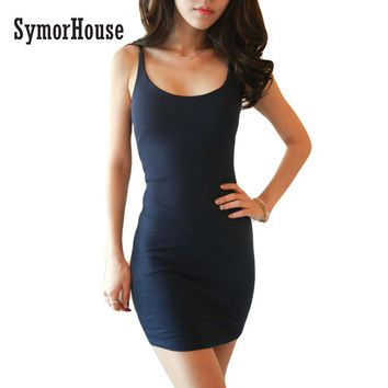 SymorHouse  Fashion Women Sexy Backless Basic Dresses Sleeveless Slim Vestidos Vest Tanks Bodycon Dress Strap Solid Party Dress