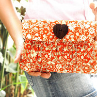 Pleated Wristlet Orange Tangerine with wooden button