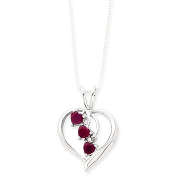 Sterling Silver Heart With Cascading Rubies Necklace