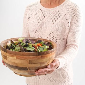 Hardwood Chef Premium Thick Acacia Wood Salad, Serving, and Mixing Bowl, 12 x 6 x 12 inch | Rustic High-End Decorative with ¾ in Slanted Lip for Juices | Incredible Customer Service with BONUS e-Book