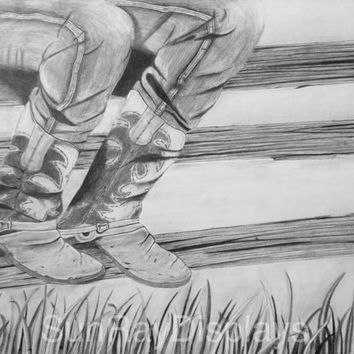 Cowboy Boots Resting on Fence Original Pencil Drawing 11X14 black and white fine art