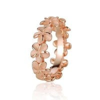 ROSE GOLD PLATED SILVER 925 HAWAIIAN 5MM PLUMERIA FLOWER LEI RING SIZE 1 - 10