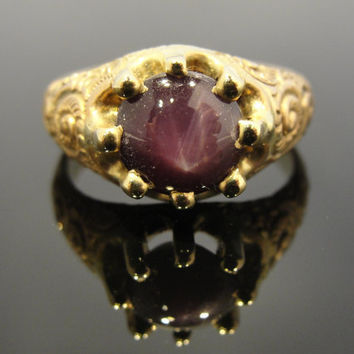 Victorian Scroll Ring Set with a Double Star Ruby