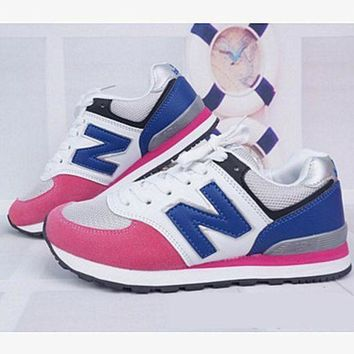 ONETOW new balance abric is breathable n leisure sports shoes women s shoes couples forrest gump students running pink blue