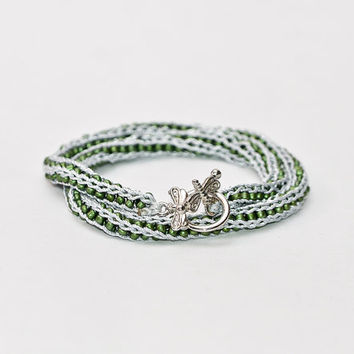 Knit Beaded Fiber Bracelet - Necklace - all in one - Silver and Green Crochet Bracelet - Knitted Fiber Eco Jewelry