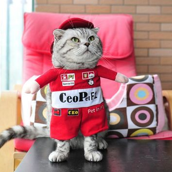 Funny Small Pet Cat Costume Clothes F1 Red Racer Dog Cat Coat And Hat For Dogs Halloween Puppy Clothes