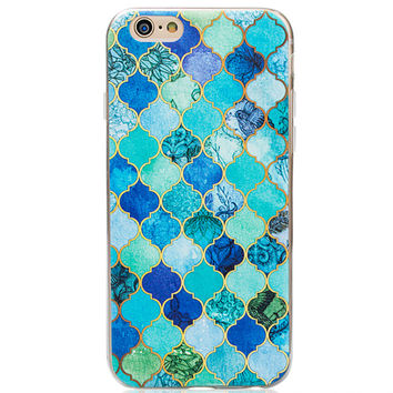 Blue Patchwork Marble iPhone 7 7plus & iPhone se 5s & iPhone6 6s Plus Case Cover + Gift Box