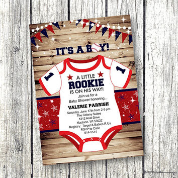 Sports Baby Shower Invitation Rookie Onesuit Red White And Blue Little  Rookie Baseball Rustic Vintage Adorable