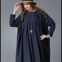 L-3xl Plus Size Cute Autumn Women Dresses Ryeon Fashion A-line Solid Full Knee-length O-neck Extra Big Size Woven Loose Dress