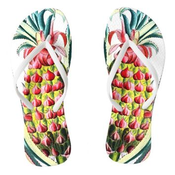 Old world pineapple illustration flipflops