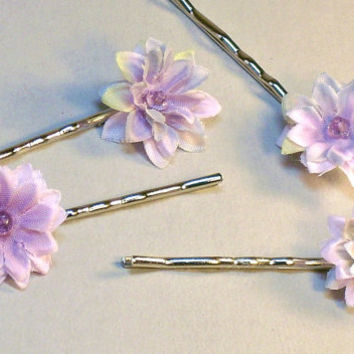 Pale Purple Rainbow Flower Hair Pins Woodland Fairy Garden Wedding Genuine Crystal Centers Set of Four Hair Accessories