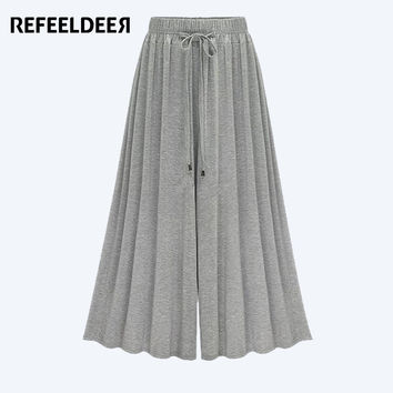 Refeeldeer Pleated Wide Trousers Women 2017 Spring Summer New Arrivals Loose High Waist Pants Women Flare Palazzo Pants Female