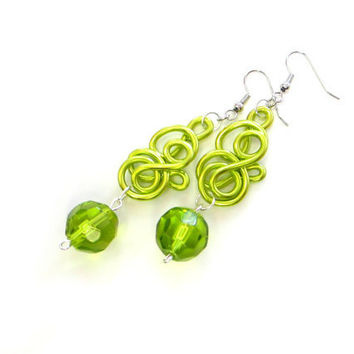 Lime Green Wire Earrings Chartreuse Fun Swirl Spring Jewelry