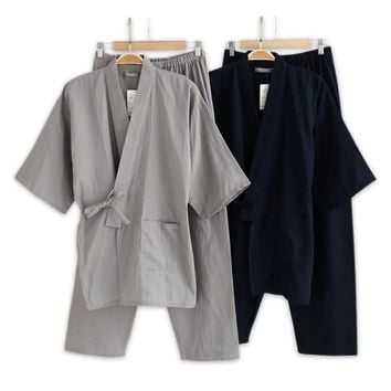 Plus Size XL Japanese pajamas Sets mens pijamas male 100% cotton Spa Robe sets for male boxer kimono robes men hombre