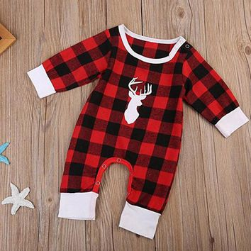 Toddler kid Baby Boy Girl Deer Head Print Grid Plaid Pattern long sleeve Romper Bodysuit Outfit winter new year costume clothes