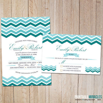 Chevron wedding invitation / Printable modern wedding invitations / Digital chevron wedding party invite card