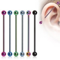 Titanium Anodized Over 316L Surgical Steel Industrial Barbell