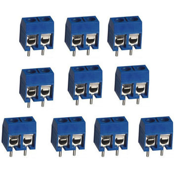 10pcs 2Pin Plug-in Screw Terminal Block Connector 5.08mm Pitch Through Hole VE164 P