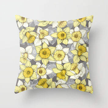 Daffodil Daze - yellow & grey daffodil illustration pattern Throw Pillow by Micklyn