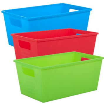 Bulk Bright Plastic Locker Bins with Handles at DollarTree.com
