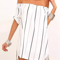 White Off-Shoulder Striped Mini Dress