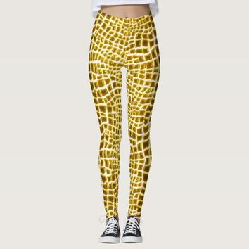Golden Gator Print Leggings