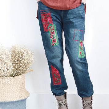 National Wind embroidery loose casual denim trousers  mori girl autumn